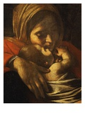 Faces of Madonna and Child  from Adoration of the Shepherds (Detail)