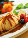 Crêpes with Ice Cream  Berries and Caramel Sauce