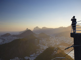 Tourist Taking Photo of Rio from Sugar Loaf Mountain (Pao De Acucar)  Urca  Rio De Janeiro  Brazil