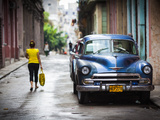 Cuba  Havana  Havana Vieja View of Old Havana Street with 1950s-Era US Car