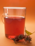 Rose Hip Tea in Glass Cup  Sprig of Fresh Rose Hips