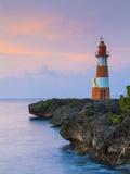 Folly Point Lighthouse Illuminted at Dusk  Port Antonio  Portland Parish  Jamaica  Caribbean
