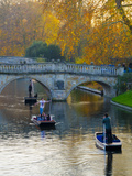 UK  England  Cambridge  the Backs  Clare and King's College Bridges over River Cam in Autumn