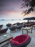 Beach Restaurants at Dusk on Ochheuteal Beach  Sihanoukville  Cambodia