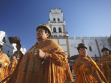 Women Dancing in Festival in Plaza 25 De Mayo  Sucre (UNESCO World Heritage Site)  Bolivia