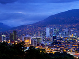 Medellin  Colombia  Elevated View of Downtown Medellin  Aburra Valley Surrounded by the Andes Mount