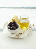 Olives  Olive Oil and White Bread