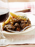 Venison Ragout with Potato Noodles and Thyme; Red Wine Glass