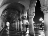 Columns of the Doge's Palace at Night  Venice  Veneto Region  Italy