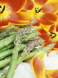 Heralds of Spring: Green Asparagus and Tulips