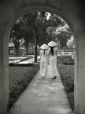 Girls Wearing Ao Dai Dress  Temple of Literature  Hanoi  Vietnam