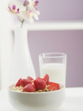 Strawberry Muesli in White Bowl