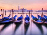 Moored Gondolas with San Giorgio Maggiore in the Background at Dawn  Venice  Veneto Region  Italy