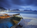 Fishing Boats on Copacabana Beach at Dusk  Rio De Janeiro  Brazil