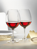 Two Glasses of Red Wine on Festive Table