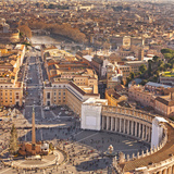 Cityscape from Dome  St Peter's Square  Rome  Lazio  Italy  Europe