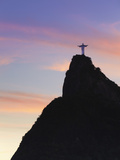 Christ the Redeemer Statue (Cristo Redentor) at Sunset  Corcovado  Rio De Janeiro  Brazil