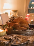 Stuffed Turkey on Table Laid for Thanksgiving (USA)