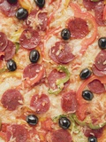 Pepperoni Pizza with Peppers and Olives