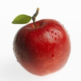 Red Apple (Jonagold) with Leaf and Drops of Water