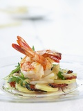 Fried Prawns on Potato  Asparagus and Ham Salad