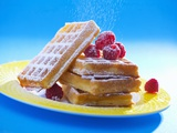 Waffles with Raspberries and Icing Sugar