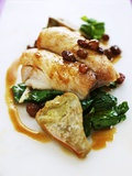 Fillet of Bream with Chard  Artichokes and Raisins