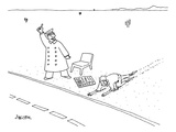 A man who has just crawled through the desert reaches a road  where a New … - New Yorker Cartoon