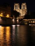Notre Dame de Paris at night  seen from the quai Saint Michel