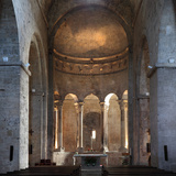 Romanesque apse  Benedictine monastery church of Sant Pere  Besalu  Girona  Spain