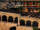 Rooftop view of a Modernist courtyard  Tortosa  Tarragona  Spain