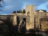 Romanesque bridge over the Fluvia river  Besalu  Girona  Spain