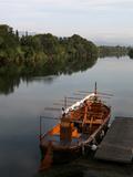 Traditional catalan wooden boat on the Ebro river  Tortosa  Tarragona  Spain