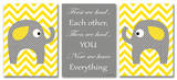 Yellow Chevron Elephants Love Trio