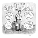A repair man is introduced as SUPER-MAN He actually knows how things work… - New Yorker Cartoon