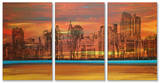 Crimson Skyscrapers Triptych Art