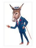 Urbane Donkey in Straw Hat