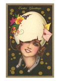 Easter Greetings  Art Deco Woman with Eggshell Hat