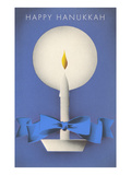 Happy Hanukkah  Candle and Ribbon
