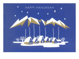 Happy Hanukkah  Village under Geometric Clouds
