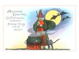 Halloween Greeting  Witch and Bats