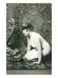 Naked Woman  Oriental Rug  Fish Sculpture