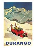 Red Ski Truck in Snow  Durango  Colorado