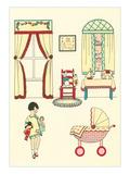 Little Girl  Pram  Neat House