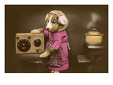 Puppy in Apron with Radio Receiver