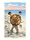Women with Parasol on Beach  Stuart  Florida