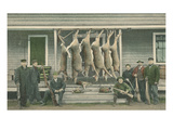 Hanging Deer Carcasses with Hunters