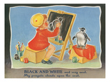Black and White Penguin  Chalkboard