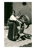 Mexican Girl with Spinning Wheel