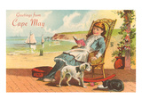 Greetings from Cape May  New Jersey  Girl on Porch